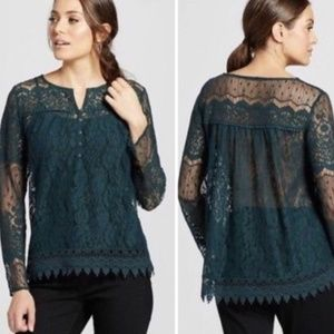 Knox Rose Green Lace Top XL